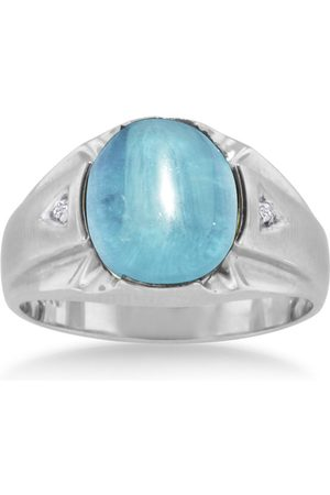 SuperJeweler 4 1/2 Carat Oval Cabochon Blue Topaz & Diamond Men's Ring Crafted in Solid