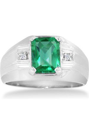 Hansa 2 1/4 Carat Emerald Cut Created Emerald & Diamond Men's Ring Crafted in Solid