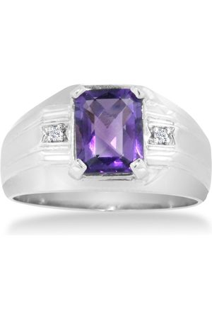Hansa 2 1/4 Carat Emerald Cut Amethyst & Diamond Men's Ring Crafted in Solid 14K