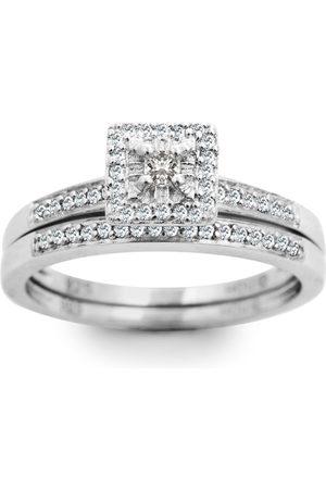 SuperJeweler 1/4 Carat Pave Halo Diamond Bridal Ring Set in Sterling