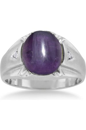 SuperJeweler Men Rings - 4 1/2 Carat Oval Cabochon Amethyst & Diamond Men's Ring Crafted in Solid