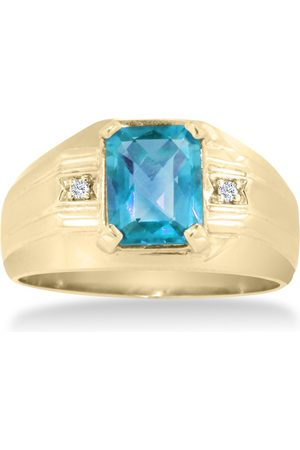 Hansa 2 1/4 Carat Emerald Cut Blue Topaz & Diamond Men's Ring Crafted in Solid 14K
