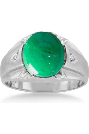 SuperJeweler Men Rings - 4 1/2 Carat Oval Cabochon Created Emerald Cut & Diamond Men's Ring Crafted in Solid 14K