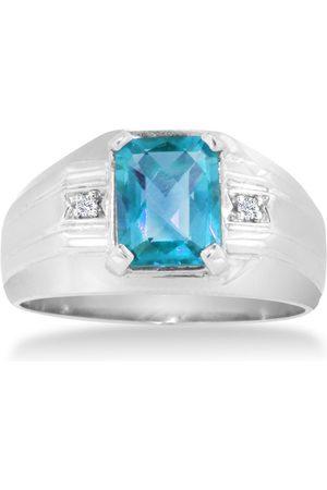 Hansa 2 1/4 Carat Emerald Cut Blue Topaz & Diamond Men's Ring Crafted in Solid