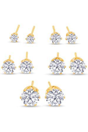 SuperJeweler Women Studs - Set Of Five Cubic Zirconia Stud Earrings in Color - 1/3ct