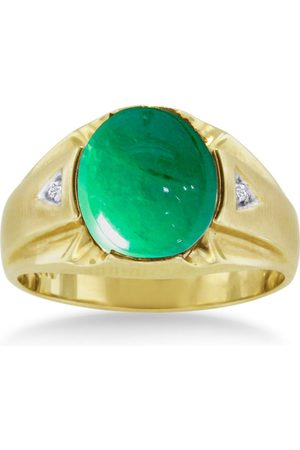 SuperJeweler 4 1/2 Carat Oval Cabochon Created Emerald Cut & Diamond Men's Ring Crafted in Solid 14K