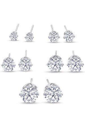 SuperJeweler Set Of Five Cubic Zirconia Stud Earrings - 1/3ct