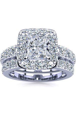 SuperJeweler 2 1/4 Carat Princess Cut Halo Diamond Bridal Engagement Ring Set in 14k