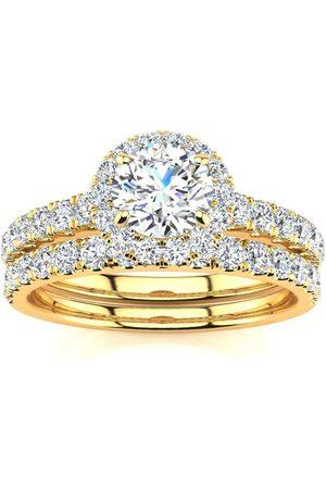 SuperJeweler 1 Carat Pave Halo Diamond Bridal Engagement Ring Set in 14k (5.5 g)