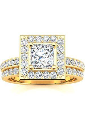 SuperJeweler 1.5 Carat Princess Cut Pave Halo Diamond Bridal Engagement Ring Set in 14k