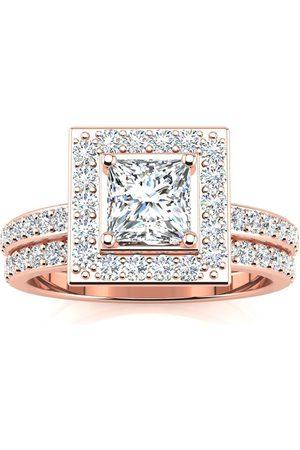 SuperJeweler 1.5 Carat Princess Cut Pave Diamond Bridal Engagement Ring Set in 14k