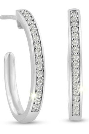 SuperJeweler 1/4 Carat Diamond Hoop Earrings in Sterling