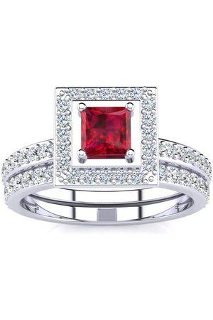 SuperJeweler 1 Carat Princess Cut Ruby & Diamond Bridal Engagement Ring Set in 14k