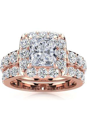 SuperJeweler 2 1/4 Carat Radiant Cut Halo Diamond Bridal Engagement Ring Set in 14k