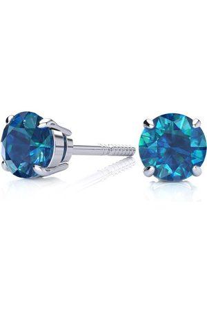SuperJeweler 3/4 Blue Diamond Stud Earrings
