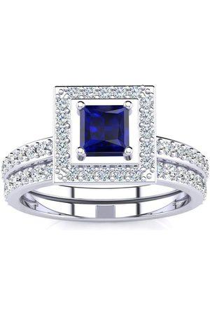 SuperJeweler 1 Carat Princess Cut Sapphire & Diamond Bridal Engagement Ring Set in 14k