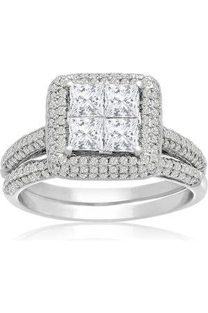 SuperJeweler 1.5 Carat Princess Cut Halo Diamond Bridal Engagement Ring Set in 14K