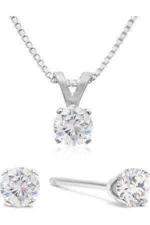 SuperJeweler Appraised 1/3 Carat Diamond Studs & Necklace Set