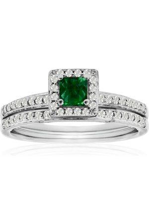 SuperJeweler 1/2 Carat Pave Emerald Cut & Diamond Bridal Ring Set in 14k