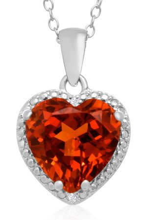 SuperJeweler 5 Carat Created Oranga Sapphire & Diamond Heart Necklace in Sterling Silver