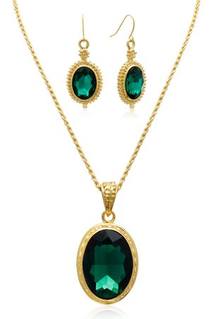 Adoriana Regal 20 Carat Oval Shape Crystal Emerald Necklace w/ Free Matching Earrings by