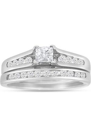 SuperJeweler 1/2 Carat Princess Cut & Round Diamond Bridal Ring Set in 14k