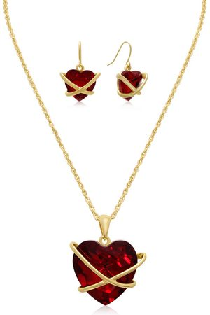 Adoriana Crystal Ruby Heart Necklace w/ Free Matching Earrings by