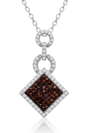SuperJeweler 1/4 Carat Chocolate Bar Champagne & White Diamond Pave Necklace in Sterling Silver