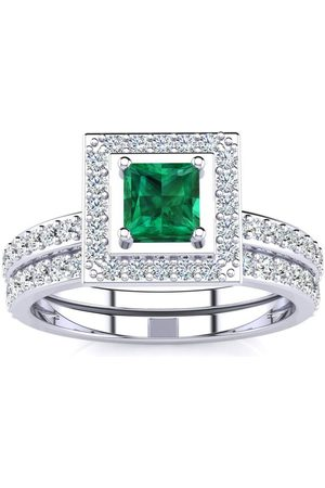 SuperJeweler 1 Carat Princess Cut Emerald & Diamond Bridal Engagement Ring Set in 14k