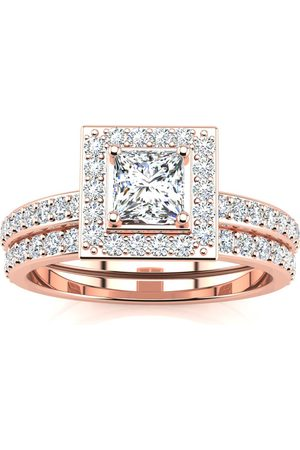 SuperJeweler 1 Carat Princess Cut Pave Halo Diamond Bridal Engagement Ring Set in 14k