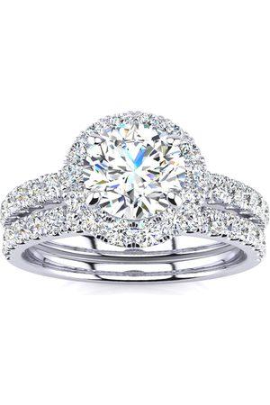 SuperJeweler 2 Carat Round Floating Halo Diamond Bridal Engagement Ring Set in 14k (7 g)