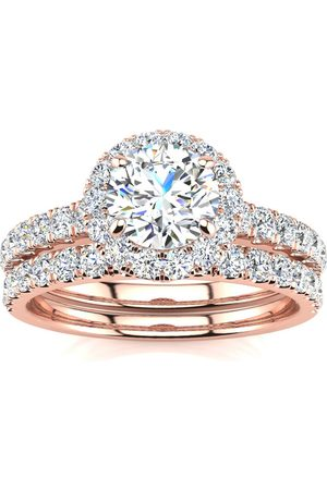 SuperJeweler 1.5 Carat Pave Halo Diamond Bridal Engagement Ring Set in 14k