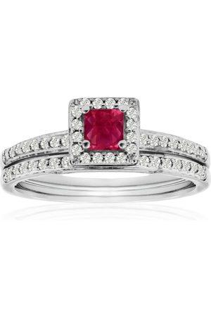 SuperJeweler 1/2 Carat Pave Ruby & Diamond Bridal Ring Set in 14k