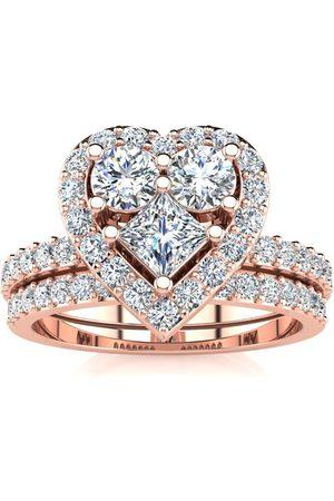 SuperJeweler Women Rings - 1 Carat Heart Halo Diamond Bridal Engagement Ring Set in 14k (6.5 g)