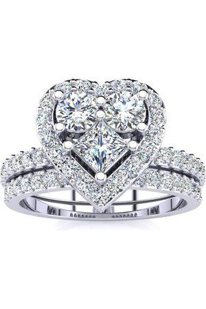 SuperJeweler 1 Carat Heart Halo Diamond Bridal Engagement Ring Set in 14k (6.5 g)