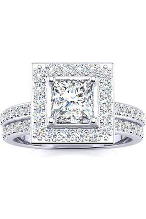 SuperJeweler 2 Carat Princess Cut Halo Diamond Bridal Engagement Ring Set in 14k (7 g)