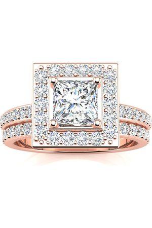 SuperJeweler 2 Carat Princess Cut Diamond Bridal Engagement Ring Set w/ 1 Carat Center Diamond in 14k (7 g)