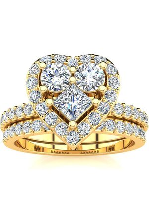SuperJeweler 1 Carat Heart Halo Bridal Engagement Ring Set in 14k (6.5 g)