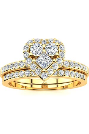 SuperJeweler 1/2 Carat Heart Halo Bridal Engagement Ring Set in (5.4 g)