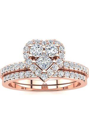 SuperJeweler 1/2 Carat Heart Halo Diamond Bridal Engagement Ring Set in (5.4 g)