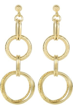 SuperJeweler 14K (4.7 g) 2 Inch Textured & Shiny Double Oval Drop Earring On Ball Stud by