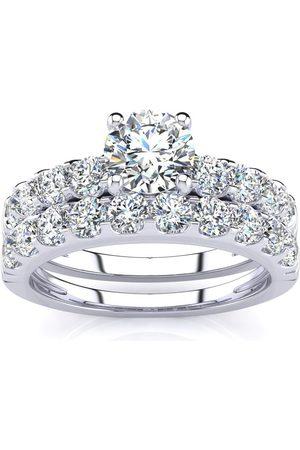 SuperJeweler 2 Carat Round Center Engagement Ring & Wedding Band Set in 14K (6.3 g)