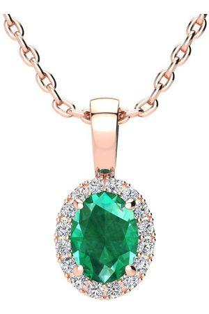SuperJeweler Women Necklaces - 0.90 Carat Oval Shape Emerald Cut & Halo Diamond Necklace in w/ 18 Inch Chain