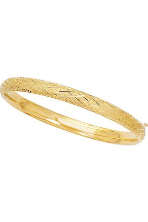 SuperJeweler 14K (3.4 g) 5.5mm 5.50 Inch Children's Shiny Diamond Cut Bangle Bracelet w/ Diamond Pattern by
