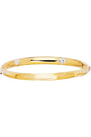 SuperJeweler 14K Yellow & (3.5 g) 5.5mm 5.50 Inch Children's All Shiny Bangle Bracelet w/ White Nail Head by