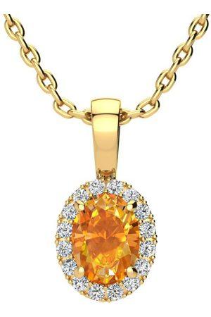 SuperJeweler Women Necklaces - 3/4 Carat Oval Shape Citrine & Halo Diamond Necklace in w/ 18 Inch Chain