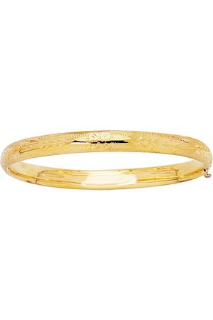 SuperJeweler 14K (3.6 g) 5.5mm 5.50 Inch Children's Shiny Diamond Cut Florentine Bangle Bracelet by