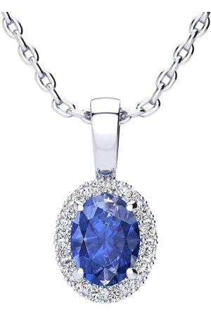 SuperJeweler Women Necklaces - 1 Carat Oval Shape Tanzanite & Halo Diamond Necklace in w/ 18 Inch Chain