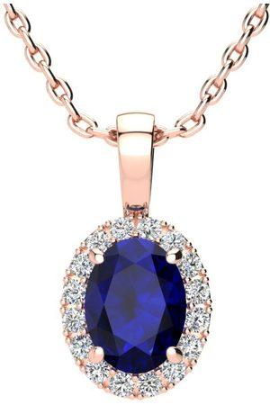 SuperJeweler 1 3/4 Carat Oval Shape Sapphire & Halo Diamond Necklace in w/ 18 Inch Chain