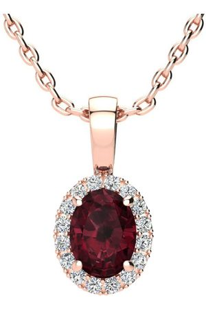 SuperJeweler Women Necklaces - 1 Carat Oval Shape Garnet & Halo Diamond Necklace in w/ 18 Inch Chain